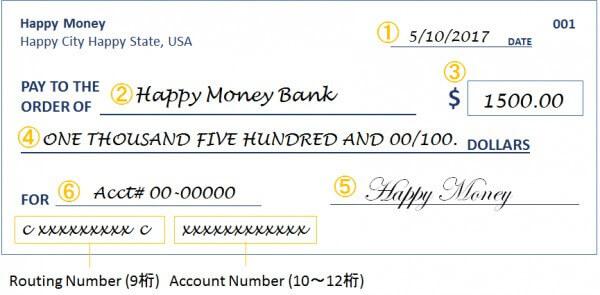 完全ガイド アメリカの小切手 チェック の書き方と使い方 happy